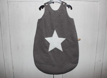 grauer Baby Schlafsack Stern Gr. 68/74 Baby Schlafsack Kuscheksack warm gefüttert - Handarbeit kaufen