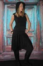 schwarzer Zipfelrock aus Spitze und Jersey Rock Goa Rock Elfen Feen  - Handarbeit kaufen