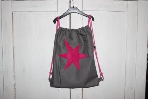 grauer Turnbeutel Beutel Stern pink Tasche Rucksack bag star - Handarbeit kaufen