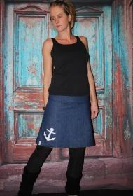 Jeansrock, Anker, Jeans Rock, blau knielanger Rock, midi Gr. 36 - 44  - Handarbeit kaufen