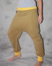 gestreifte Haremshose Pumphose Sarouel Baggy Hose gelb grau gestreifte Hose - Handarbeit kaufen