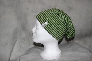 Wende Beanie Mütze gestreift Punkte grün Schlapphut  - Handarbeit kaufen