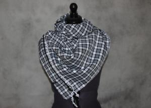 XL Schal Bindetuch Tuch Karo Kacheln schwarz weiß kariert - Handarbeit kaufen