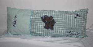 Geburtskissen Elefant XXL Kissen Namenskissen Deko Stern großes Kissen 25 x 60 - Handarbeit kaufen