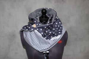 XL Wende Schal Wendetuch Knopfschal Sterne Streifen Tuch Wendeschal grau Rechteck - Handarbeit kaufen