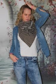 XXL Wende Schal Dreieckstuch Tuch Punkte Streifen braun weiß Bindetuch - Handarbeit kaufen