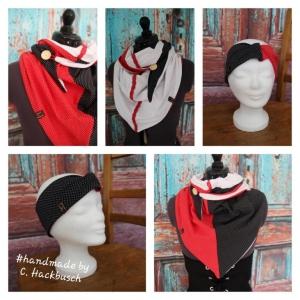 XL Wende Schal Dreieckstuch + Stirnband Tuch Punkte  schwarz weiß gepunktet Bindetuch - Handarbeit kaufen