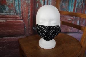 Mundbedeckung Maske Mundmaske Mund-  und Nasenbedeckung schwarz weiß Punkte - Handarbeit kaufen