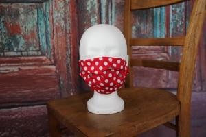 Maske Gesichtsmaske Mundbedeckung Mund- und Nasenbedeckung rot grau Punkte - Handarbeit kaufen