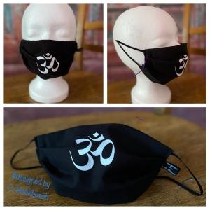 Mundbedeckung Maske Mundmaske Mund-  und Nasenbedeckung schwarz Goa Om - Handarbeit kaufen