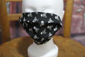Mundbedeckung Maske Mundmaske Mund-  und Nasenbedeckung schwarz Totenköpfe