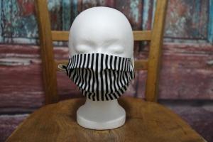 Mundbedeckung Maske Mundmaske Mund-  und Nasenbedeckung schwarz weiß gestreift