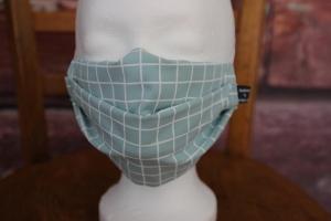 Mundbedeckung Maske Mundmaske Mund-  und Nasenbedeckung Karo mint türkis  - Handarbeit kaufen
