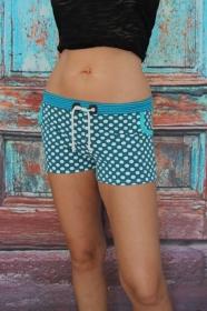 Hotpants türkis Punkte Hot Pants Stretch Shorts mini Jersey Shorty kurze Hose Damen