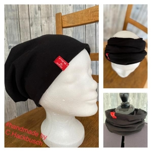 Beanie Mütze Stirnband Loop schwarz Schlapphut Zopf Beanie - Handarbeit kaufen