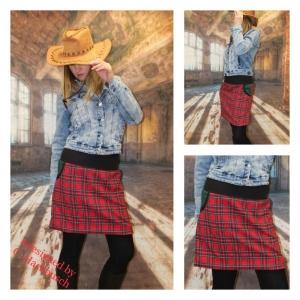 karo Rock A- Form mini Schottenrock rot kariert Gr, 36-44 skirt  - Handarbeit kaufen