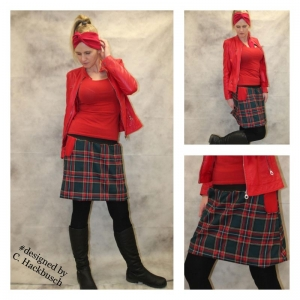 karo Rock A- Form mini Schottenrock grün/rot kariert Gr, 36-44 skirt   - Handarbeit kaufen