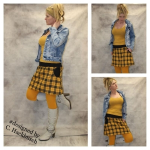 karo Rock A- Form mini Schottenrock gelb/schwarz kariert Gr, 36-44 skirt Schottenkaro - Handarbeit kaufen