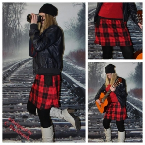 karo Rock A- Form mini Schottenrock rot/schwarz kariert Gr, 36-44 skirt