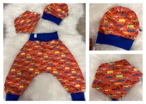 Baby Set orange Pumphose Autos Mütze Tuch  - Handarbeit kaufen