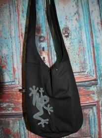schwarze Yogatasche Tasche Yoga XXL Umhängetasche Frosch - Handarbeit kaufen