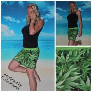 Goa Mini Rock Cannabisblätter Stretch Rock mini Jersey Hanfblätter Goa Kleidung Hippie Festival - Handarbeit kaufen