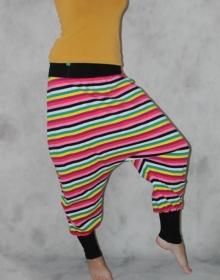 gestreifte Haremshose Pumphose Sarouel Baggy Hose bunt gestreifte Hose Streifen Regenbogen - Handarbeit kaufen