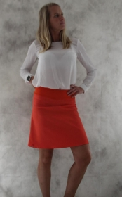 Jeansrock, Stretch Rock, Jeans Rock, orange knielanger Rock, midi Gr. 36 - 44  - Handarbeit kaufen