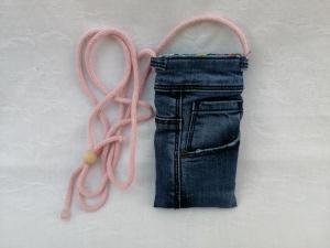 Upcycled Jeans-Handytasche mit Kordel - Handarbeit kaufen