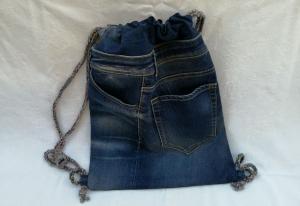 Turnbeutel - Upcycled Jeans - reflektierende Rückseite - Handarbeit kaufen