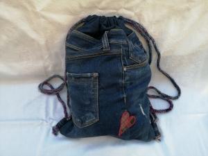Festival-/Turnbeutel - Upcycled Jeans - reflektierende Rückseite  - Handarbeit kaufen