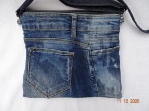 Upcycled Jeans- Handtasche mit reflektierender Rückseite - Unikat - Handarbeit kaufen