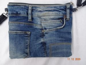 Upcycled Jeans- Handtasche mit reflektierender Rückseite - Unikat