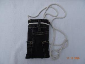 Upcycled dark-Grey-Jeans-Handytasche mit Kordel  - Handarbeit kaufen
