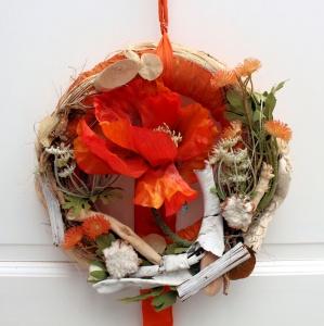 ♥romantischer Türkranz °MOHNBLÜTE° Türdeko Deko ♥ DEKORATION ♥ Deko♥ KRANZ Landhauskranz, orange Sommerkranz, Herbstkranz
