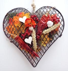 kleines gefülltes Herz DEKOHERZ °HERBST° Türdeko Deko ♥ DEKORATION ♥ Deko♥ KRANZ Landhauskranz, Sommerkranz, orange, Herbstkranz, Türkranz Herbst
