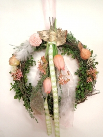 haltbarer Türkranz FRÜHLING , Türdeko, Deko NATURKRANZ rosa Landhaus Dekoration Frühlingskranz Geschenk Frühlingsdeko rosa-altrosa-apricot