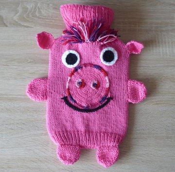 Gestrickter Wärmflaschenbezug -Schweinchen - pink  - inkl. Wärmflasche