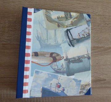 Handgefertigtes Ringbuch für DIN A5 aus Pappe, Papier und Buchleinen - Motiv Urlaub - Handarbeit kaufen