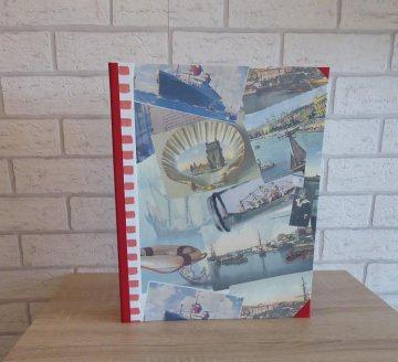Handgefertigtes Ringbuch für DIN A4 aus Pappe, Papier und Buchleinen - Motiv Urlaub