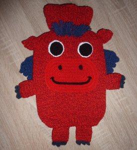 Gestrickter Wärmflaschenbezug - Drache - rot-blau  - inkl. Wärmflasche