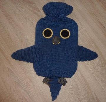 Gestrickter Wärmflaschenbezug - Hyazinthara - blau, inkl. Wärmflasche