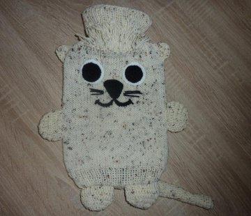 Gestrickter Wärmflaschenbezug - Katze - beige-braun, inkl. Wärmflasche - Handarbeit kaufen
