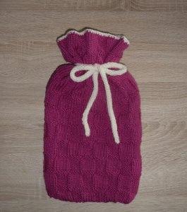 Gestrickter Wärmflaschenbezug - pink-wollweiß  inkl.Wärmflasche - Handarbeit kaufen