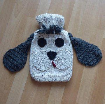 Gestrickter Wärmflaschenbezug - Hund -  inkl.Wärmflasche