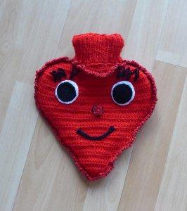Gestrickter Wärmflaschenbezug - Herz  inkl.Wärmflasche