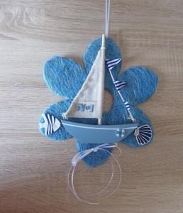 Wand-/Türdeko mit Segelschiff, Fisch und Muschel