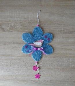 Wand-/Türdeko mit Blumen und Vogel rosa-blau