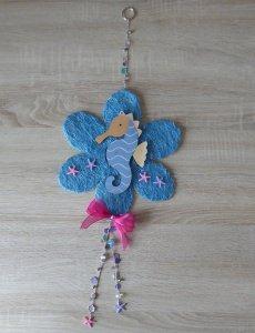 Wand-/Türdeko mit Seepferdchen und Seesternen  - rosa-blau - Handarbeit kaufen