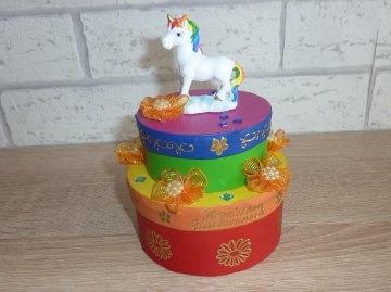 Geburtstagsgeschenkverpackung Regenbogen mit Einhorn und Schriftzug HERZLICHEN GLÜCKWUNSCH